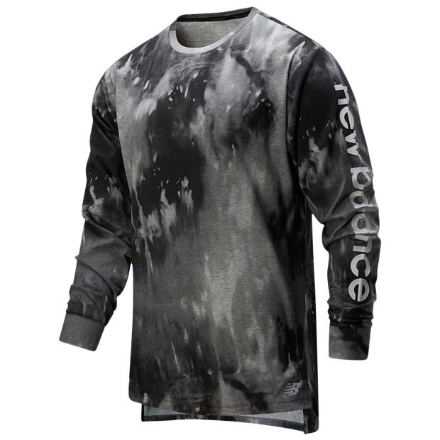 997S プリント ヘザーテック ロングスリーブTシャツ  amt01054-bm ブラックマルチ