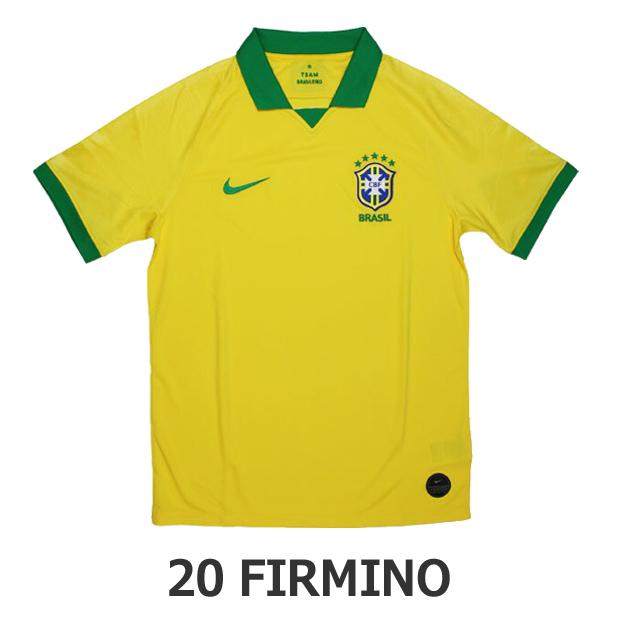 ジュニア ブラジル代表 2019 ホーム 半袖レプリカユニフォーム 20.フィルミーノ aq3852-749-20-f