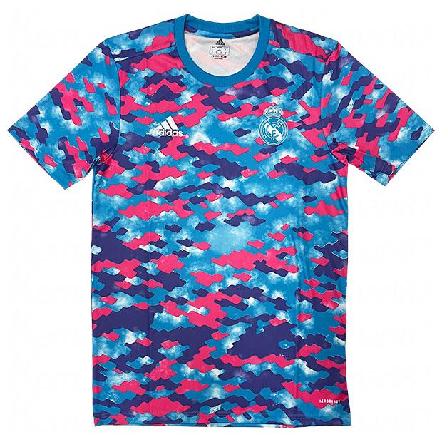 レアルマドリッド プレマッチ半袖シャツ  bq382-gr4309 ピンク×パープル