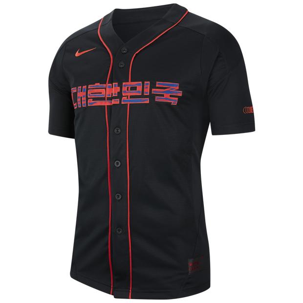 韓国代表 ベースボールジャージー  cq9249-010 ブラック×グローバルレッド