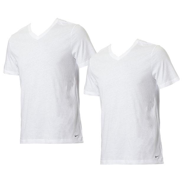 Vネック半袖シャツ 2枚組  ke1004-100 ホワイト