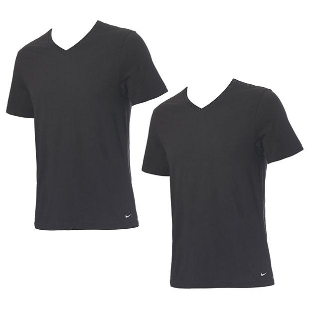 Vネック半袖シャツ 2枚組  ke1004-ub1 ブラック