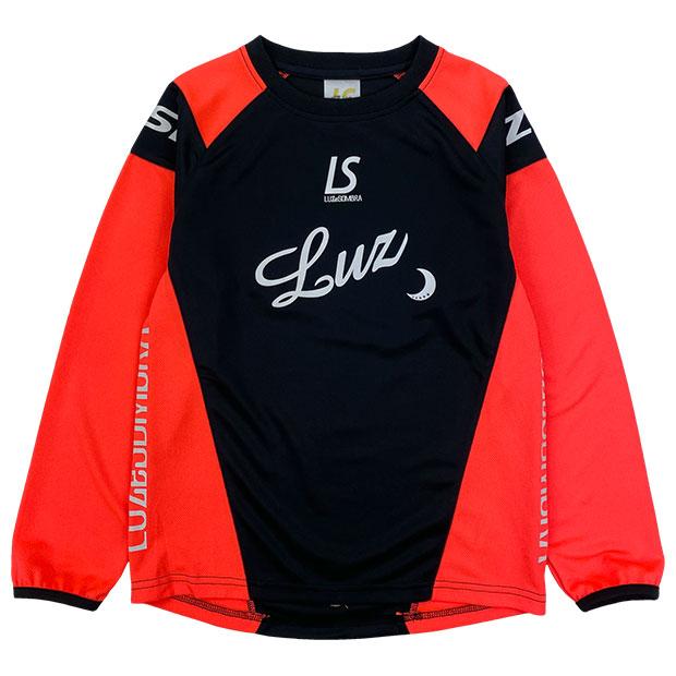 ジュニア ダイアゴナル 長袖プラクティスシャツ  l2211008-blknor ブラック×ネオンオレンジ