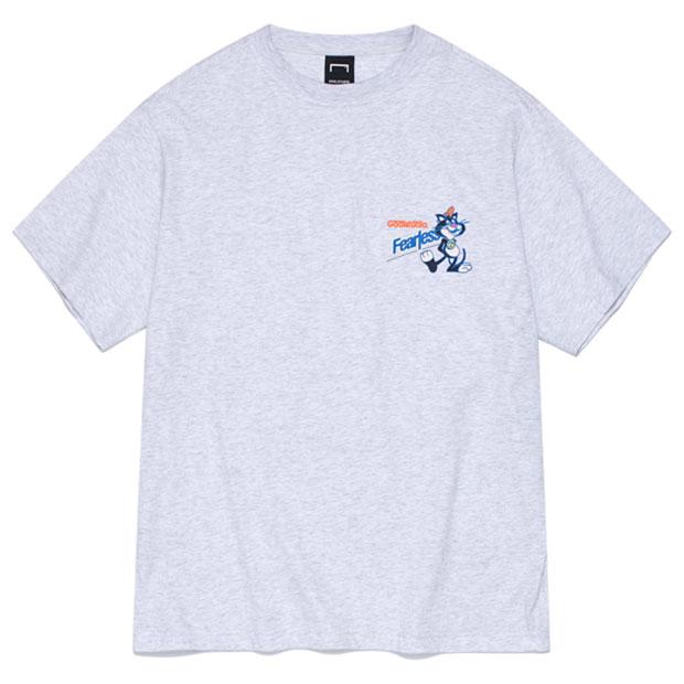 フィアレス ビッグキャット シリアルボックス 半袖Tシャツ メランジグレー