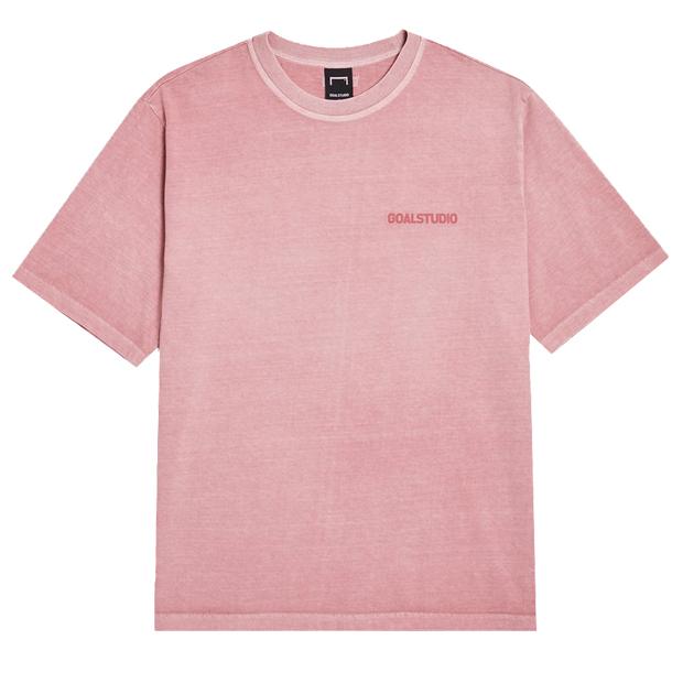 ピグメントダイ ウォッシュ加工 半袖Tシャツ ピンク